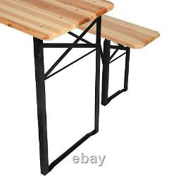 Bench Large 3 Pcs Wooden Folding Picnic Beer Table Trestle Patio Outdoor Garden