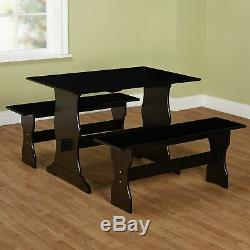 Black 3 pc Dining Set Wooden Kitchen Nook Breakfast Table Bench Family Dinette