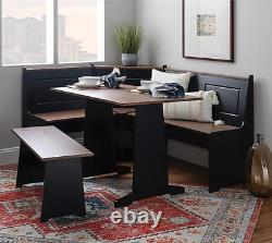 Black and Pecan Nook Dining Set Corner Booth Bench Kitchen Tables Smaller Space
