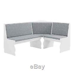 Blue Gray & White Top Breakfast Nook Dining Set Corner Booth Bench Kitchen Table