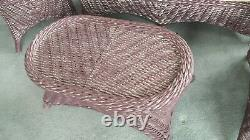 Bold wicker set of 4 pieces, real wicker furniture, settee, chair, coffee table
