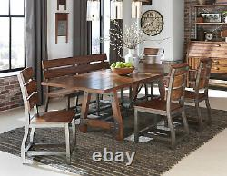 Brown Finish Dining Room Kitchen 6pcs Set Rectangular Table Bench & Chairs IC63