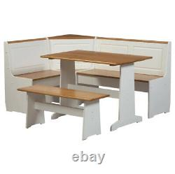 CORNER DINING DINETTE SET 5-Piece Farmhouse Pine Wood Table Side Bench White