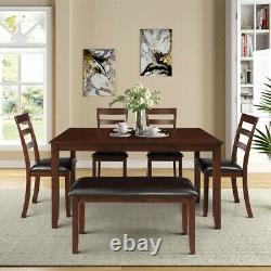 Classic 6pcs Wood Dining Set, Table, 4 Chairs and a Bench, Dinning room table set