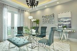 Contemporary Glass Top Dining Table Grey Velvet Chairs Diningroom Furniture Set