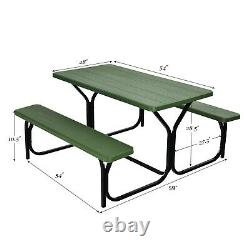 Costway Picnic Table Bench Set Outdoor Camping Backyard Garden Party All Weather