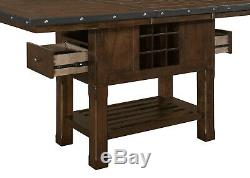 Counter Height Burnished Oak Dining Table Chairs Bench Furniture Set