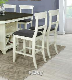 Counter Height Dining Table Side Chairs Bench Wooden 8pc Set Buttermilk / Gray