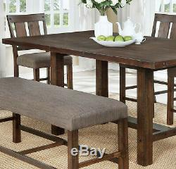 Counter Height Dining Table w Extension Leaf Side Chairs Bench Wooden 6pc Set