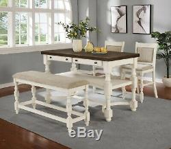 Country Farmhouse 4-Piece Counter Height Dining Set Table with Drawers Bench Chair