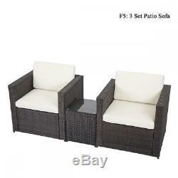 DIY Outdoor Patio Sofa Sectional Furniture PE Wicker Rattan Deck Couch Brand New