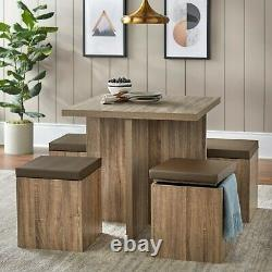 Dining Set Dining Table Storage Ottoman 5-Piece desk and chair Modern Kitchen st