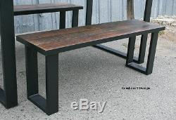 Dining Set made of Steel & Vintage Reclaimed Wood. Urban. Modern. Table, Bench