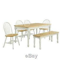 Dining Table Set Farmhouse Solid Wood Kitchen Tables Sets With Chairs And Bench