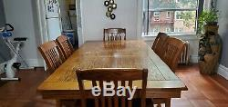 Dining room set (wood table with extension and 6 chairs plus cabinet)