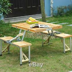FOLD AWAY & CARRY Table + Chair Bench Set Camping Portable Foldable Up 4 Seater