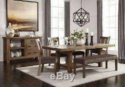 Farmhouse Cottage 6 pieces Dining Room Set Brown Finish Table Bench Chairs IC00