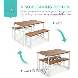 Farmhouse Dining Table Set Kitchen Bench Seating for 4 Breakfast Nook White New
