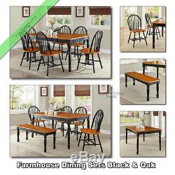 Farmhouse Dining Table Set Tables Chairs Benches Country Room Kitchen, Black Oak