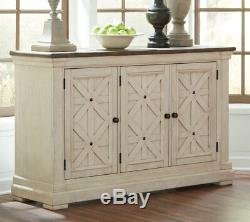 Farmhouse White & Brown Table Chairs Bench 6pcs Dining Room Furniture Set IC1G