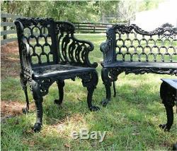 Garden Bench Set Two Side Chairs One Bench and One Table Vintage Victorian Style