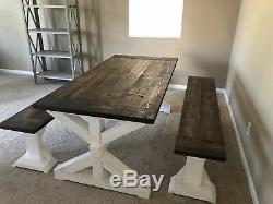 Handmade Dining Table Farmhouse Room Set with Benches