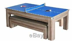 Hathaway Newport 7 ft Pool Table Combo Set Benches Table Tennis Dining Ping Pong