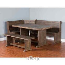 High End Solid Wood Breakfast Nook Dining Set Corner Booth Bench Kitchen Table