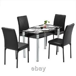 Hot 5 Piece Dining Table Set with 4 Chairs Iron Kitchen Breakfast Furniture NEW