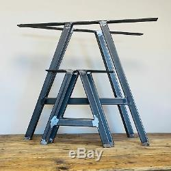 Industrial A Frame Set of 2 Steel Metal Table Legs Dining/Bench/Office/Desk Legs