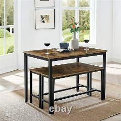 Industrial Dining Table Set 3 Rustic Metal Furniture Vintage Kitchen Bench New