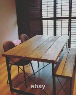 Industrial Table and bench set (Table and two benches) retro, Vintage, farmhouse