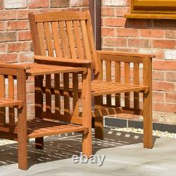 Kingfisher Love Seat Wooden Bench 2 Seater Patio Twin Chair With Table Set
