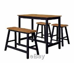Kings Brand 4 Piece Counter Height Pub Dining Set. Table, Bench & 2 Stools