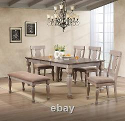 Kings Brand Almon 2-Tone Brown 6-Piece Dining Room Set, Table, Bench & 4 Chairs