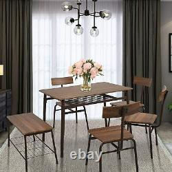 Koreyosh Wooden Dining Table with 5 Chairs Set Kitchen Table Home Modern Furniture