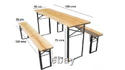 Large 3 Pcs Wooden Foldable Picnic Beer Table Bench Trestle Patio Outdoor Pub