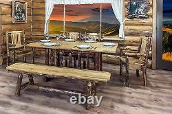 Log Dining Table Set with Bench and Chairs Amish Made Pine 6 ft Kitchen Tables