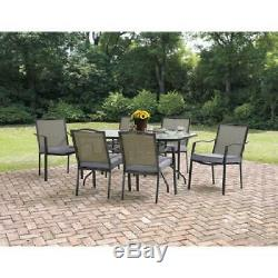 Mainstays Oakmont Meadows Outdoor Patio Dining Set, Cushioned Metal 7 Piece Yard