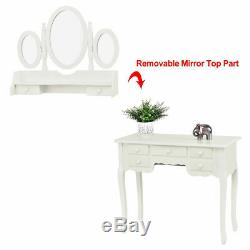 Make up Vanity Table Set Tri-folding Mirror Soft Padded Bench With7 Drawer White