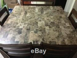 Marble Dining Room Set Counter Height Table & Chairs