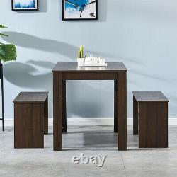 Melamine Dining Sets Table with 2 Benches Chair Kitchen Furniture Decorate NEW