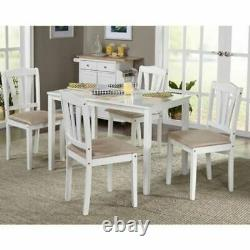 Metropolitan Dining Set with 4 Upholstered Wood Chairs and Table in White