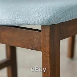 Mid-Century Dining Set Modern Kitchen Table Blue Fabric Chairs Bench Retro Mod