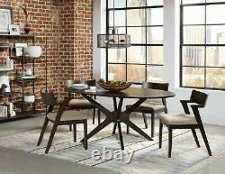 Mid-Century Modern Brown Finish Dining Room Oval Table & Chairs 7 piece Set IN7C