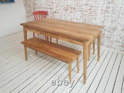 Mid-Century Modern Extending Hardwood Dining Table & Bench Set Free Delivery