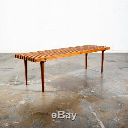 Mid Century Modern Slat Bench Set Pair Coffee Table Vintage Entry Wood Nelson