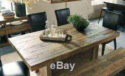 Modern Brown Pine Dining Room Set 6 pieces Rectangular Table Bench Chairs IC0F