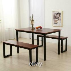 Modern Dining Table with Two Benches/3 piece set Kitchen Steel Frame