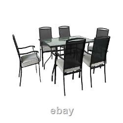 Modern Outdoor Patio Furniture Square Dining Set 7 Piece Bench Table and Chairs